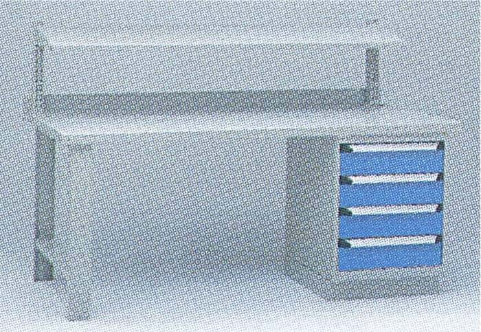 Workbench with Cabinet and Upper Shelf