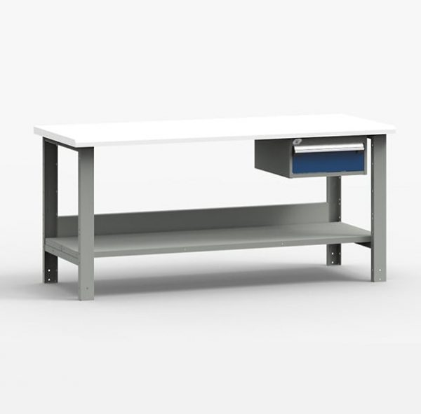 Workbench with Lower Shelf and Drawer Unit