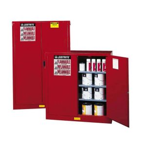 What should be stored in a flammable storage cabinet?