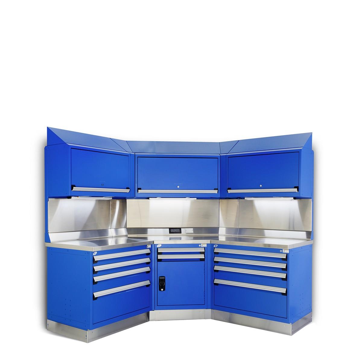 10 drawer corner workstation in blue
